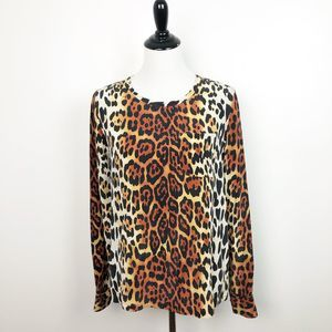 Equipment Silk Leopard Print Long Sleeve Blouse